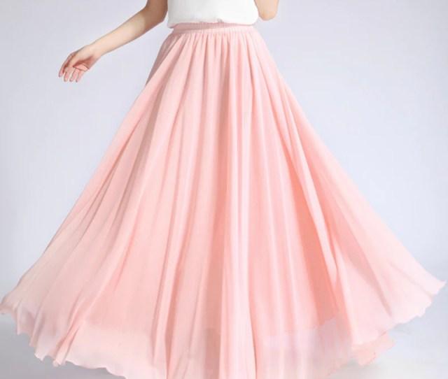 Light Nude Pink Chiffon Maxi Skirt