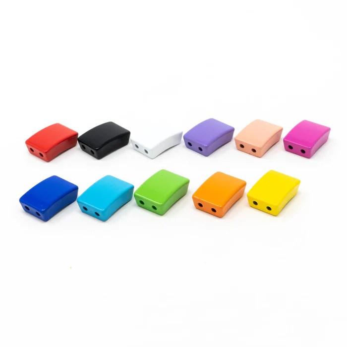 5 x bright enamel metal tile beads various colours rectangle design 1cm x 2cm