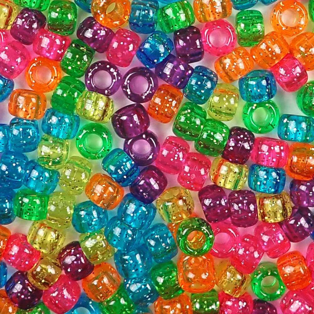 Bright Glitter Mix Craft Pony Beads 6 X 9mm Bulk Assortment Usa Made Pony Bead Store