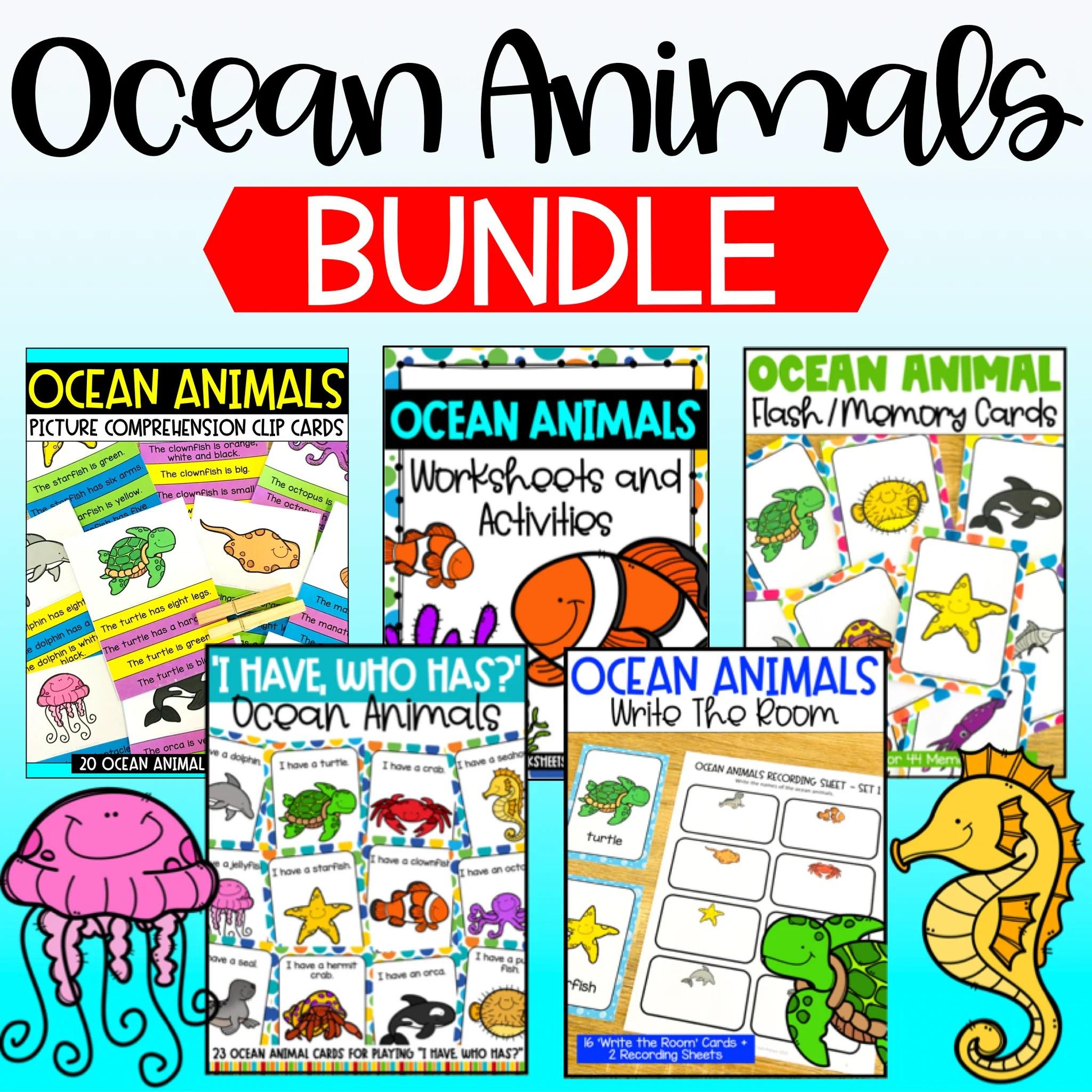 Ocean Animals Worksheets [ 2048 x 2048 Pixel ]