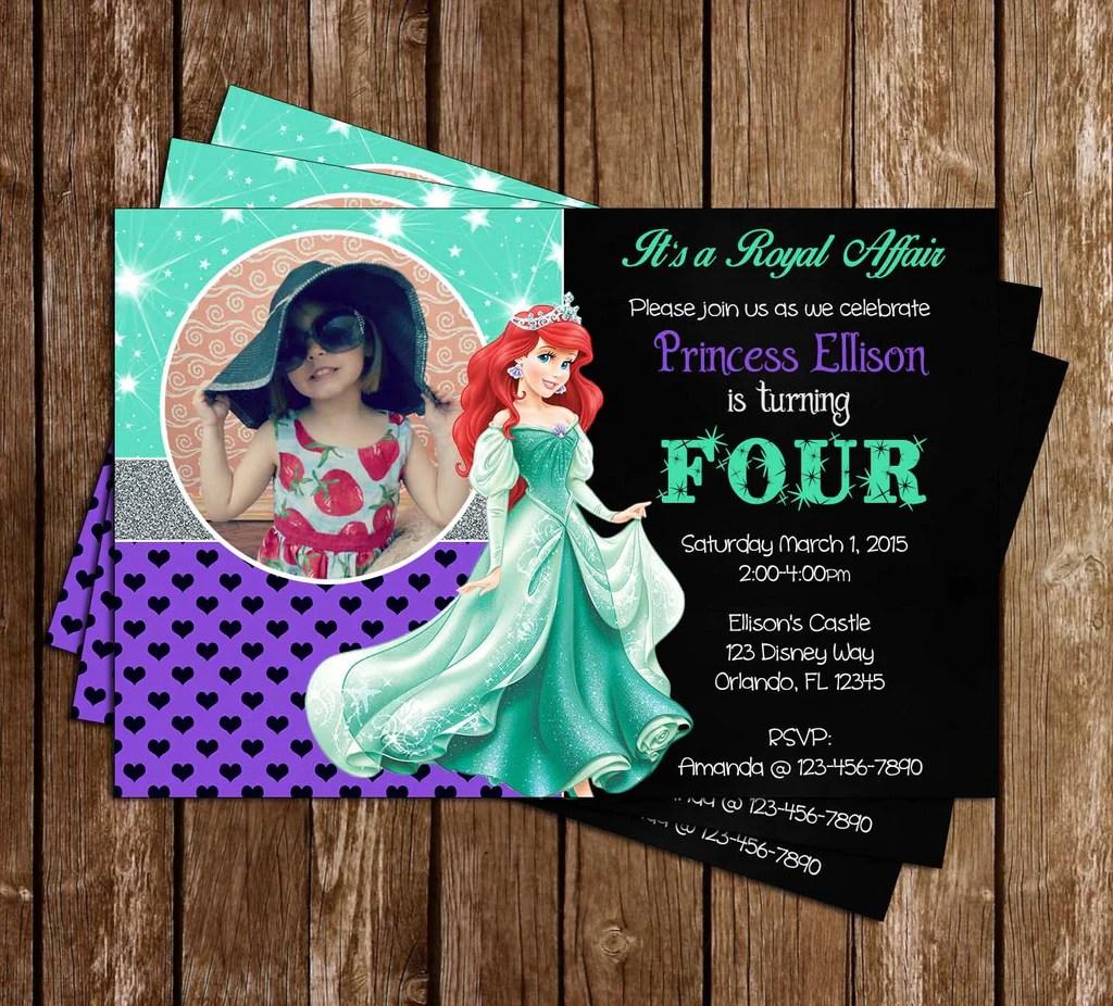 disney princess ariel the little mermaid birthday invitation