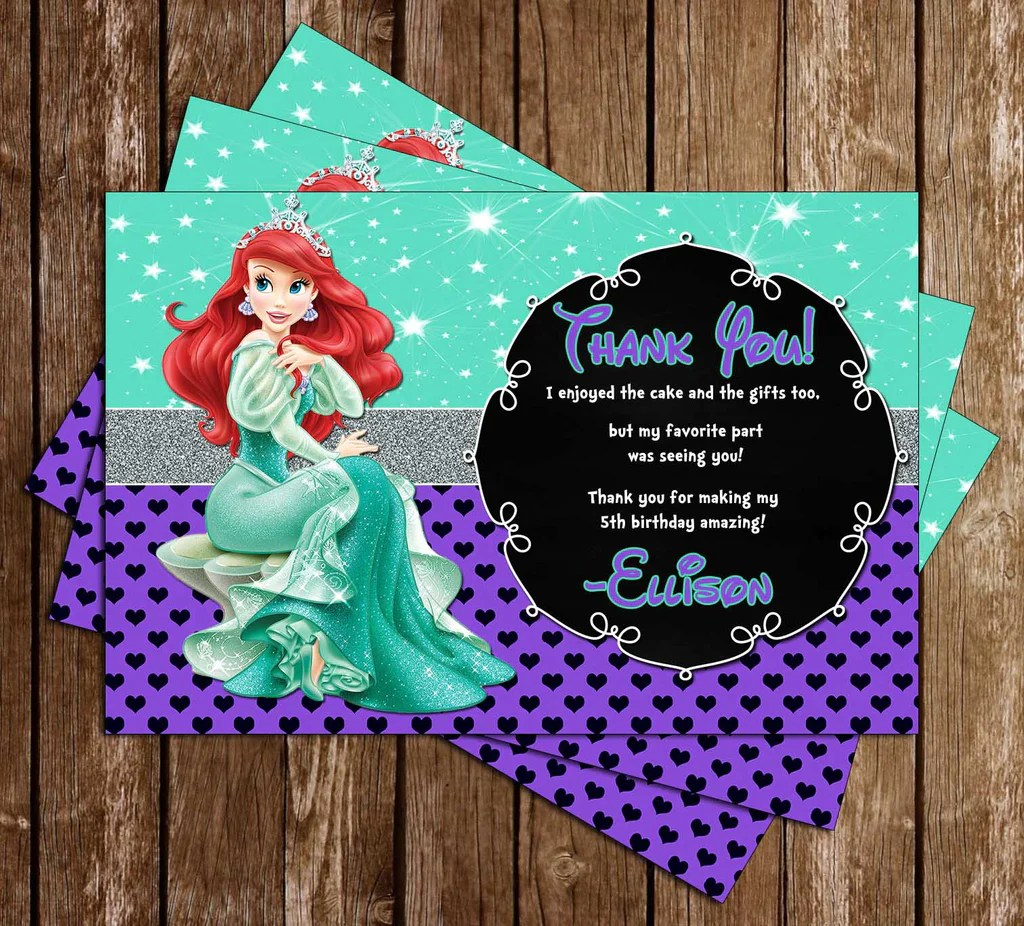 disney princess ariel the little mermaid chalkboard birthday invitation