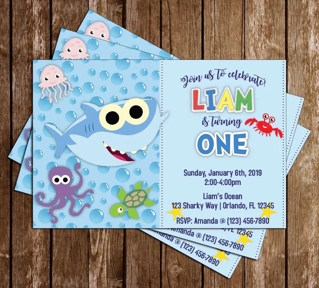 baby shark blue birthday party invitation