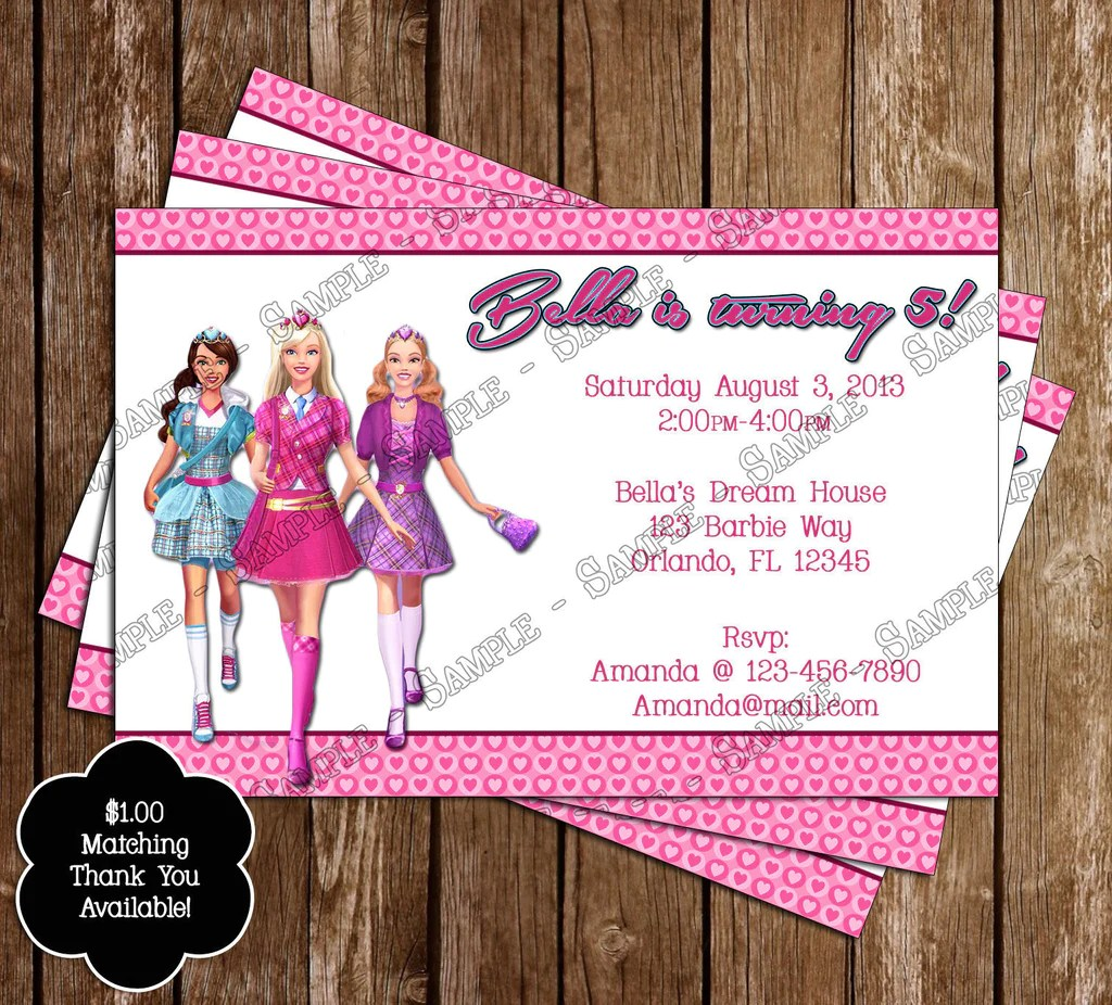 Novel Concept Designs  Barbie Birthday Party Thank You
