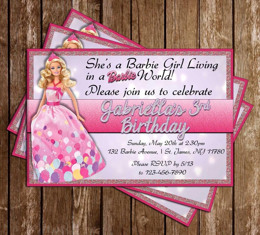 1st birthday barbie theme invitation