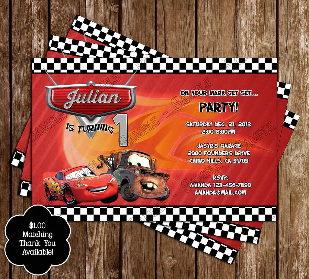 disney s cars birthday party invitation