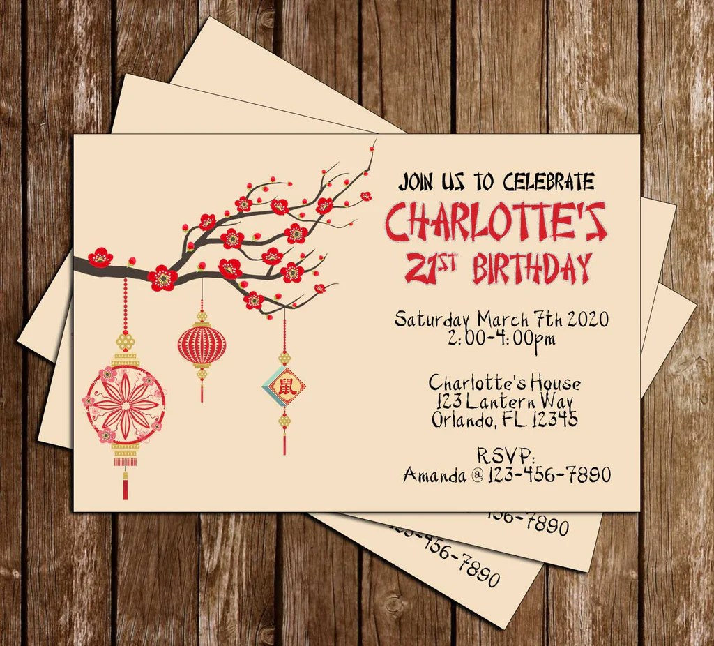 cherry blossoms chinese birthday party invitation