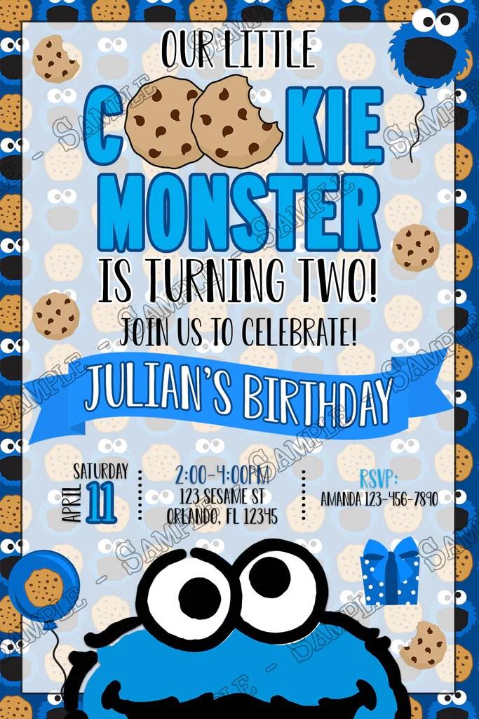 cookie monster chalk birthday party invitation