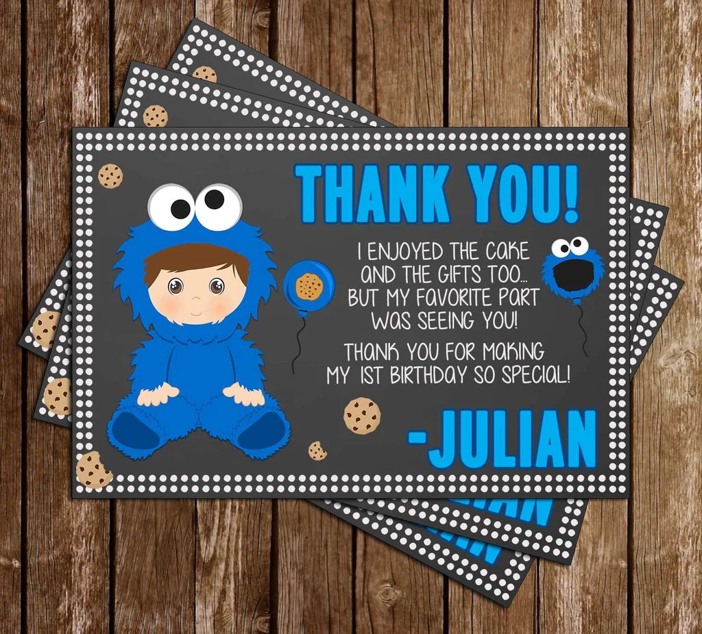 cookie monster 1st birthday party thank you card