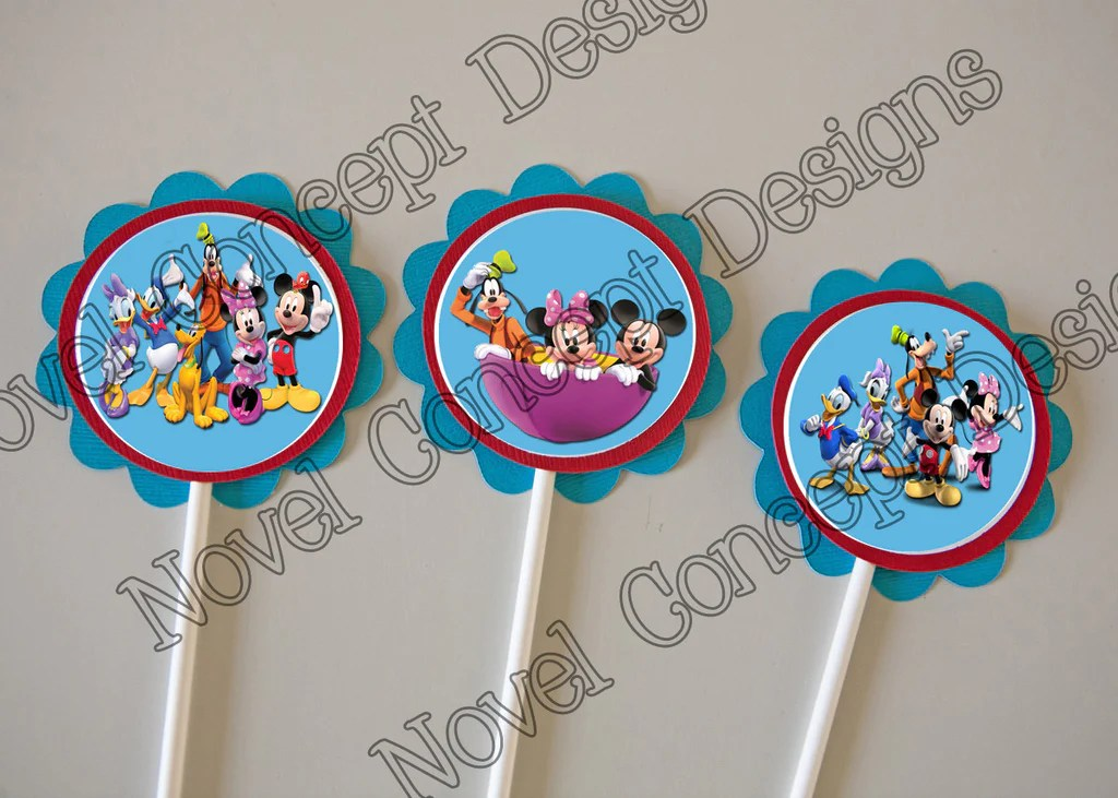 Free Mickey Mouse Clubhouse Cupcake Party Favor Topper Novel Concept Designs