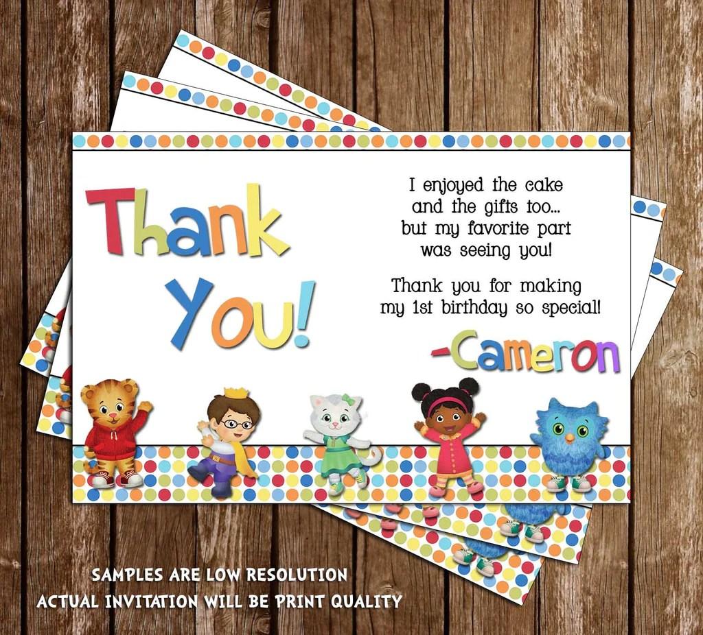daniel tiger birthday thank you card