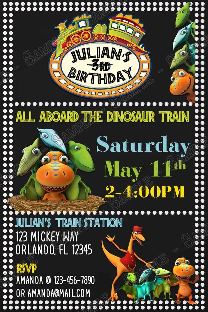 dinosaur train chalk birthday party invitation