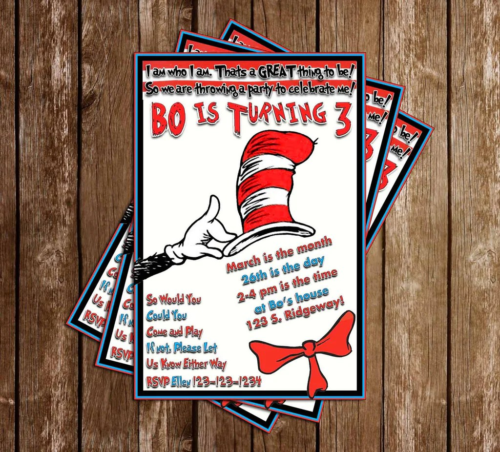 cat in the hat dr seuss birthday party invitation printable