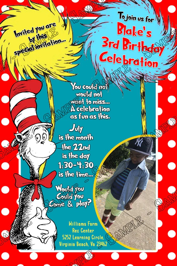 cat in the hat dr seuss photo birthday party invitation