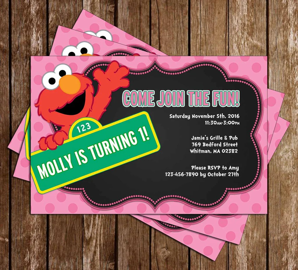 elmo little girl birthday party invitation