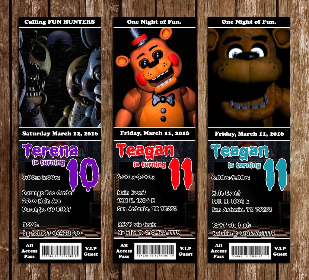 five nights at freddy s video game birthday party ticket invitation