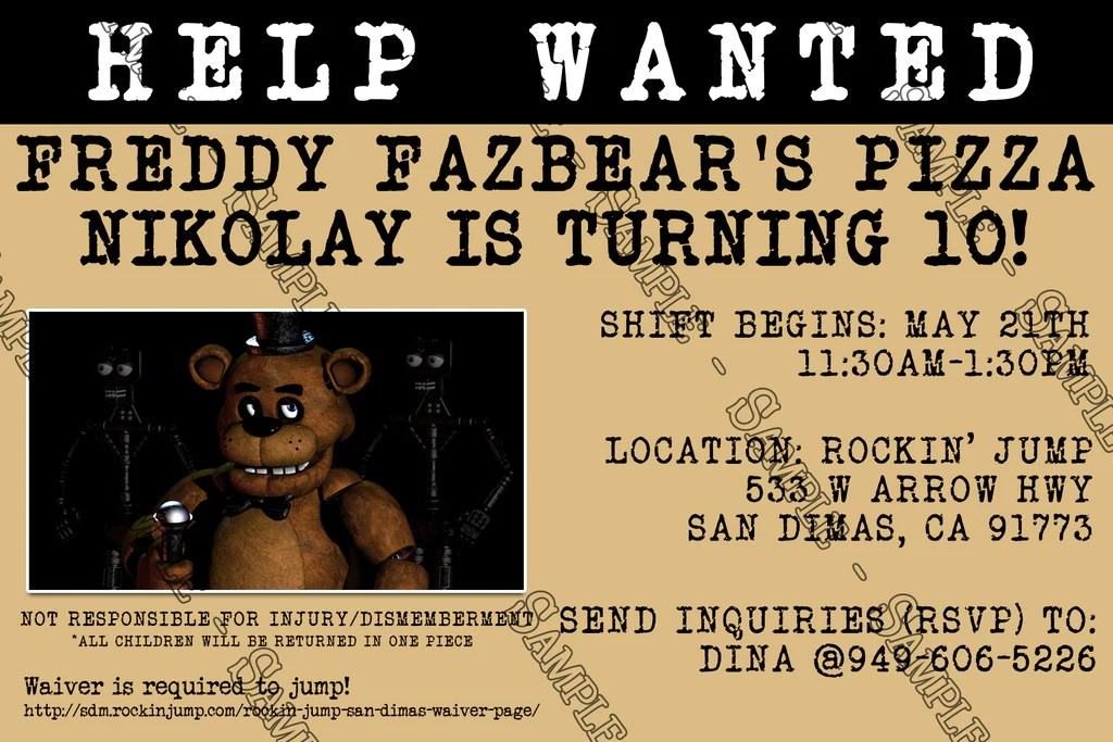 five nights at freddy s video game birthday party invitation