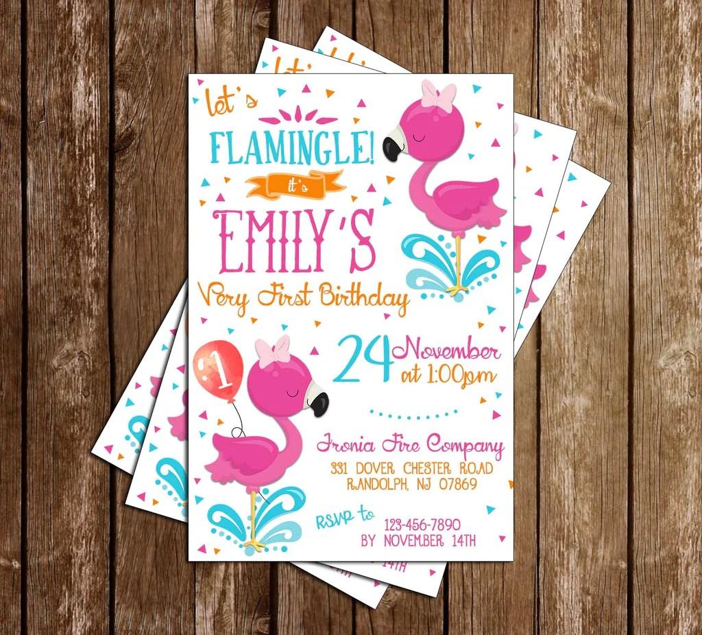 flamingo 1st birthday birthday party invitation