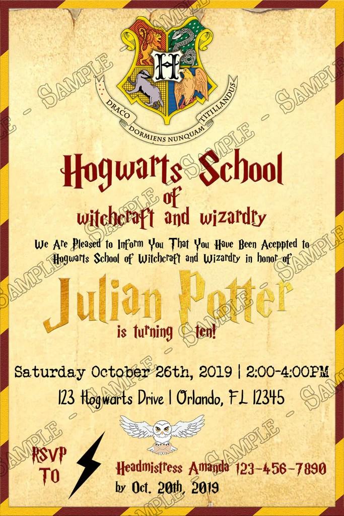 harry potter gryffindor hogwarts birthday party invitation