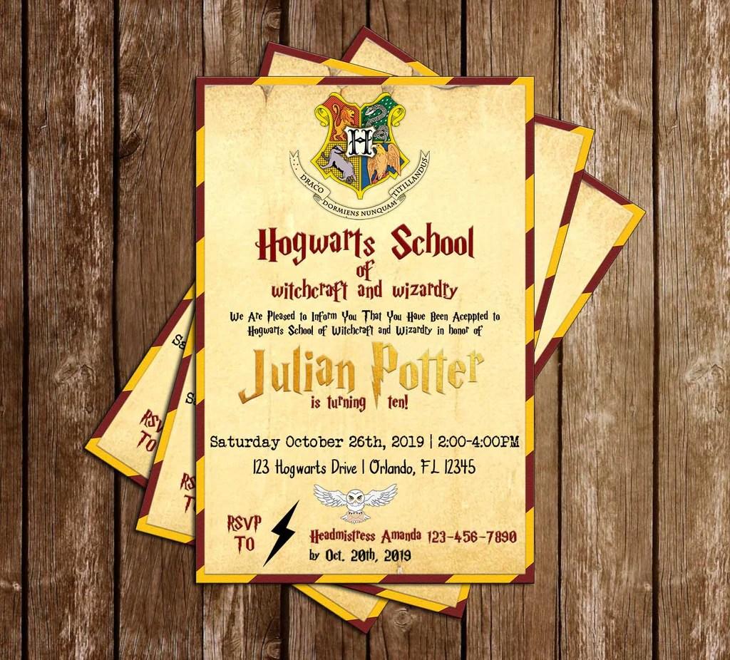 Novel Concept Designs Harry Potter Gryffindor Hogwarts Birthday Party Invitation