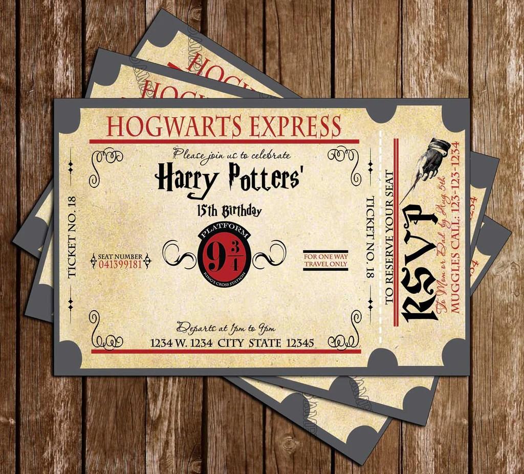 harry potter hogwarts express birthday party invitation