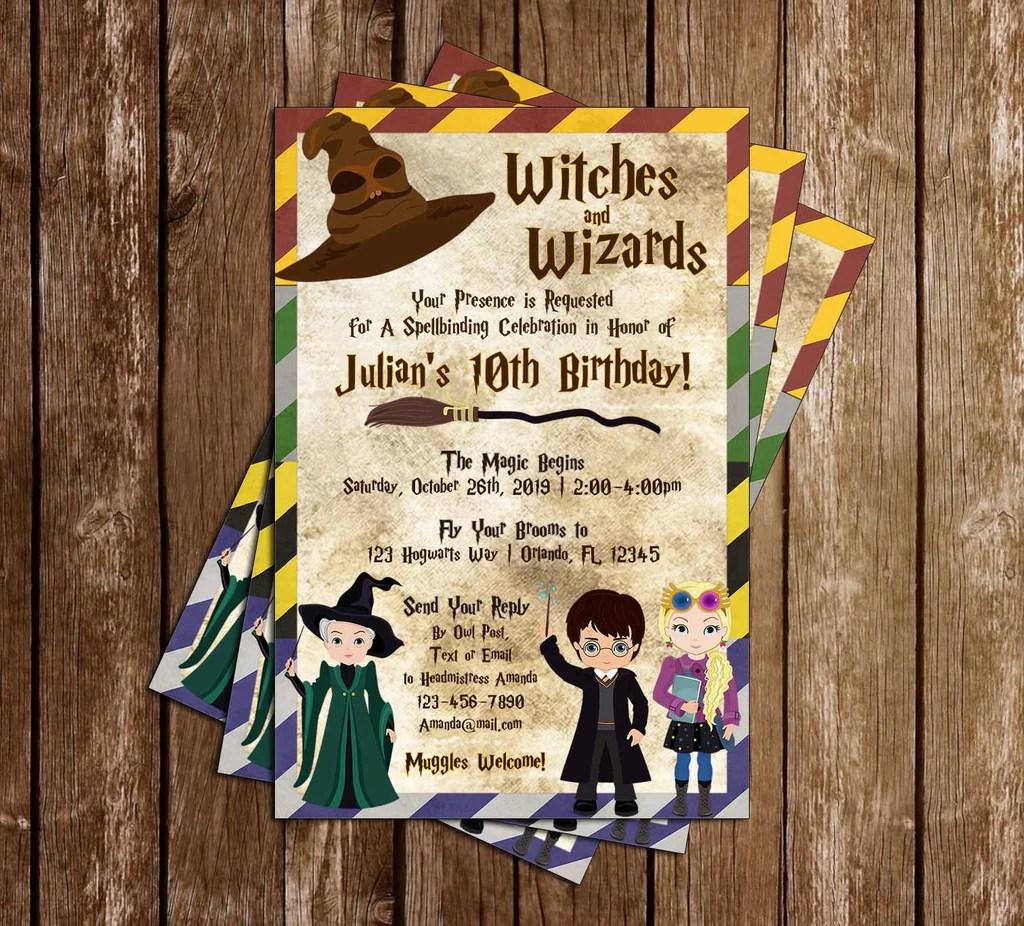 harry potter hogwarts tall birthday party invitation