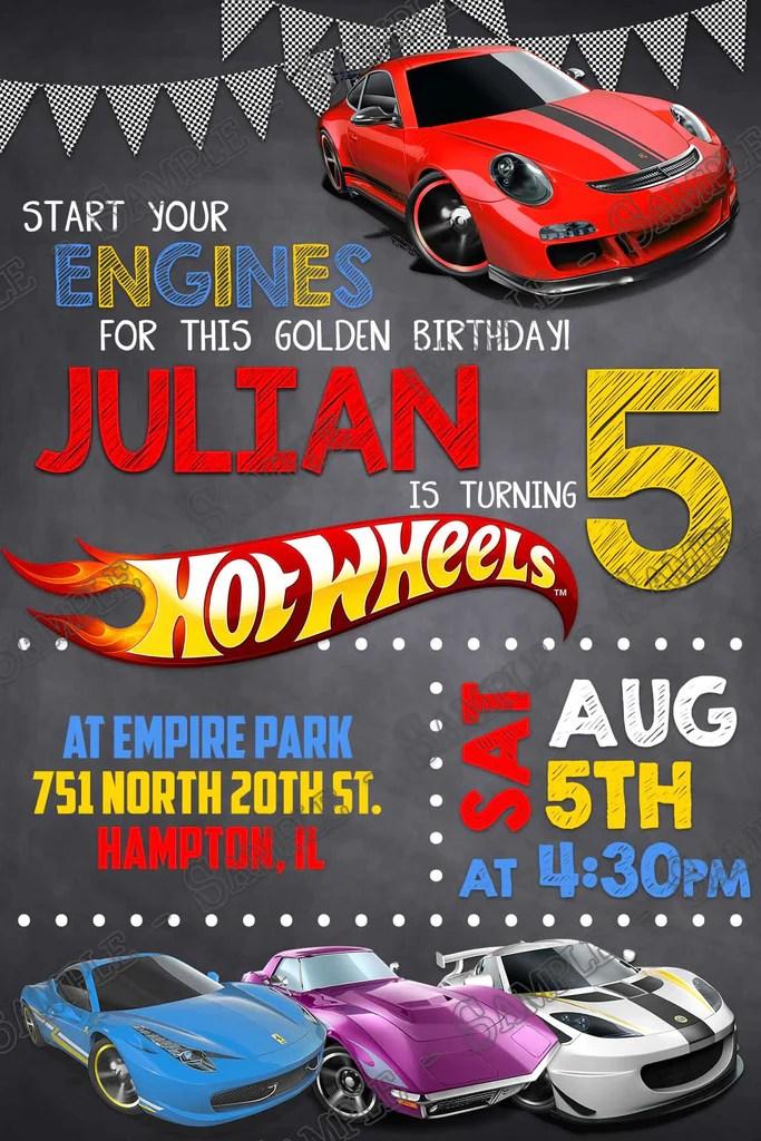 hot wheels cars birthday party invitation