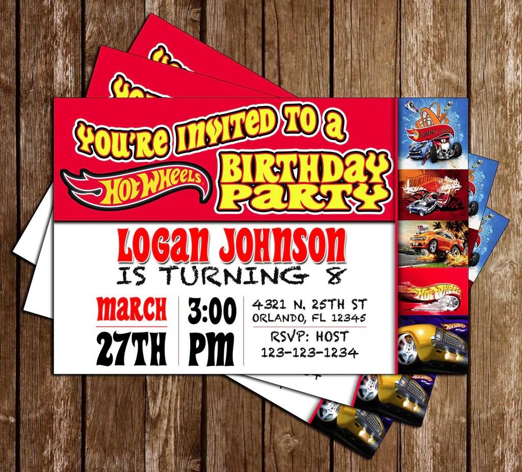 hot wheels red birthday party invitation