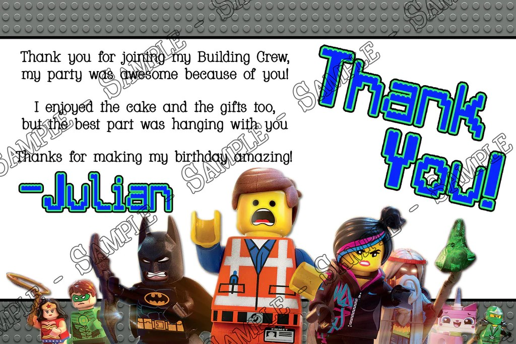 Novel Concept Designs Lego Movie Birthday Party Thank