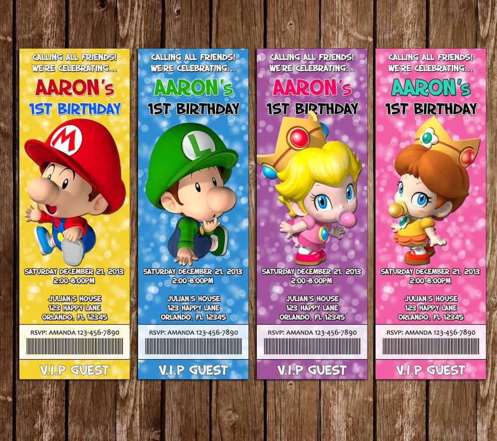 baby super mario bros ticket video game birthday party invitation