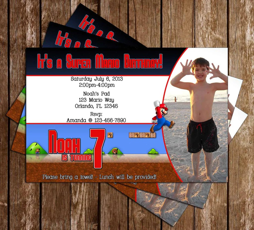 super mario bros video game birthday party invitation with photo of your child