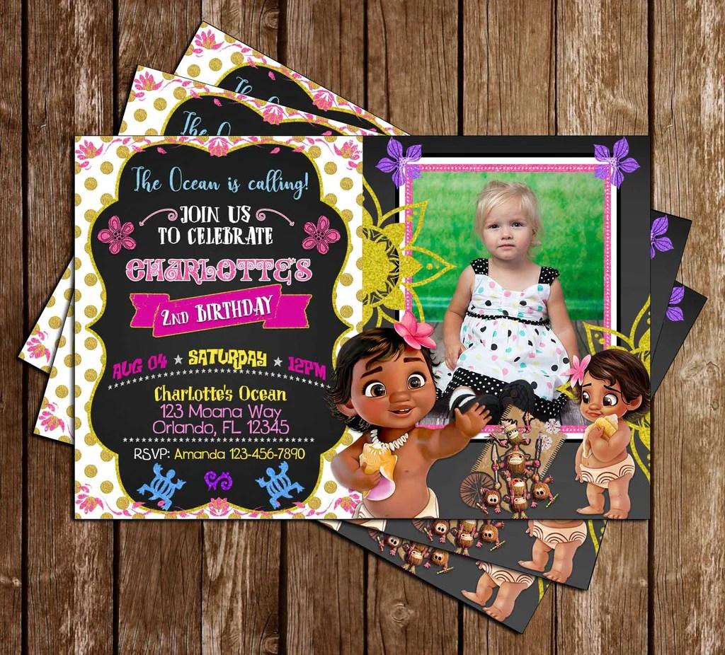 baby moana movie birthday invitation