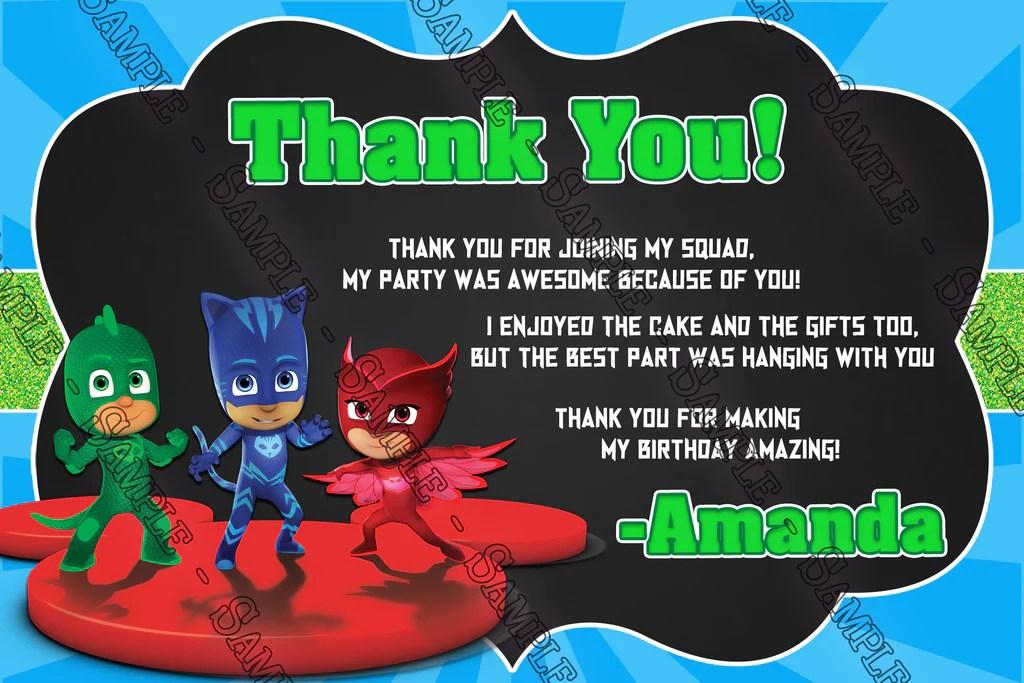 pj masks superhero chalk birthday invitation