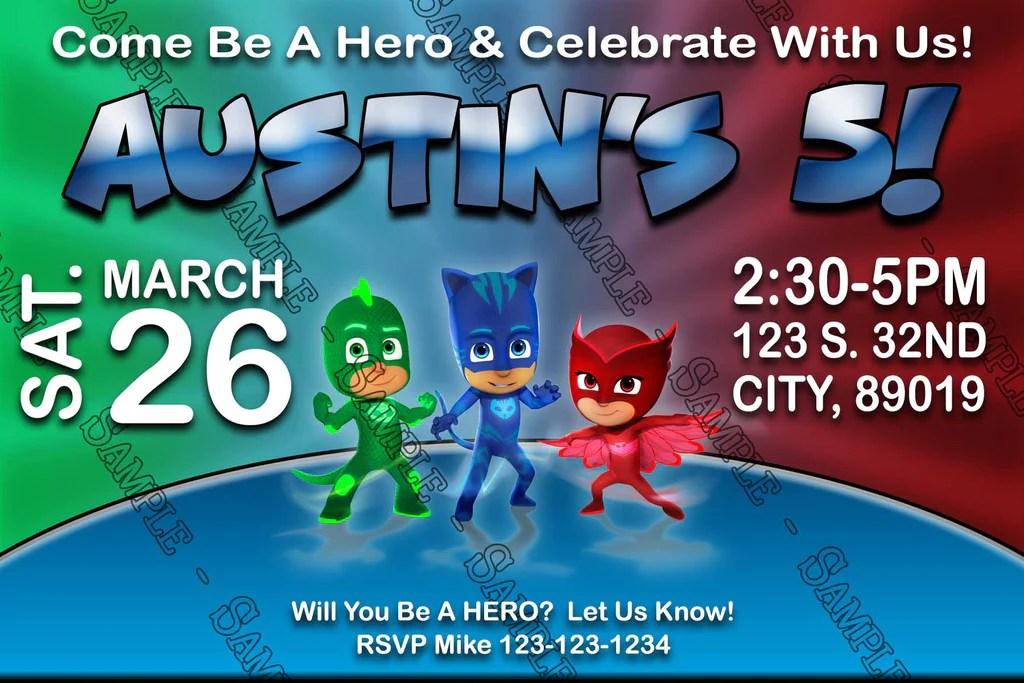 disney jr pj masks superhero red birthday invitation