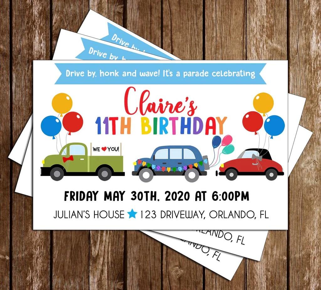 birthday parade party invitation