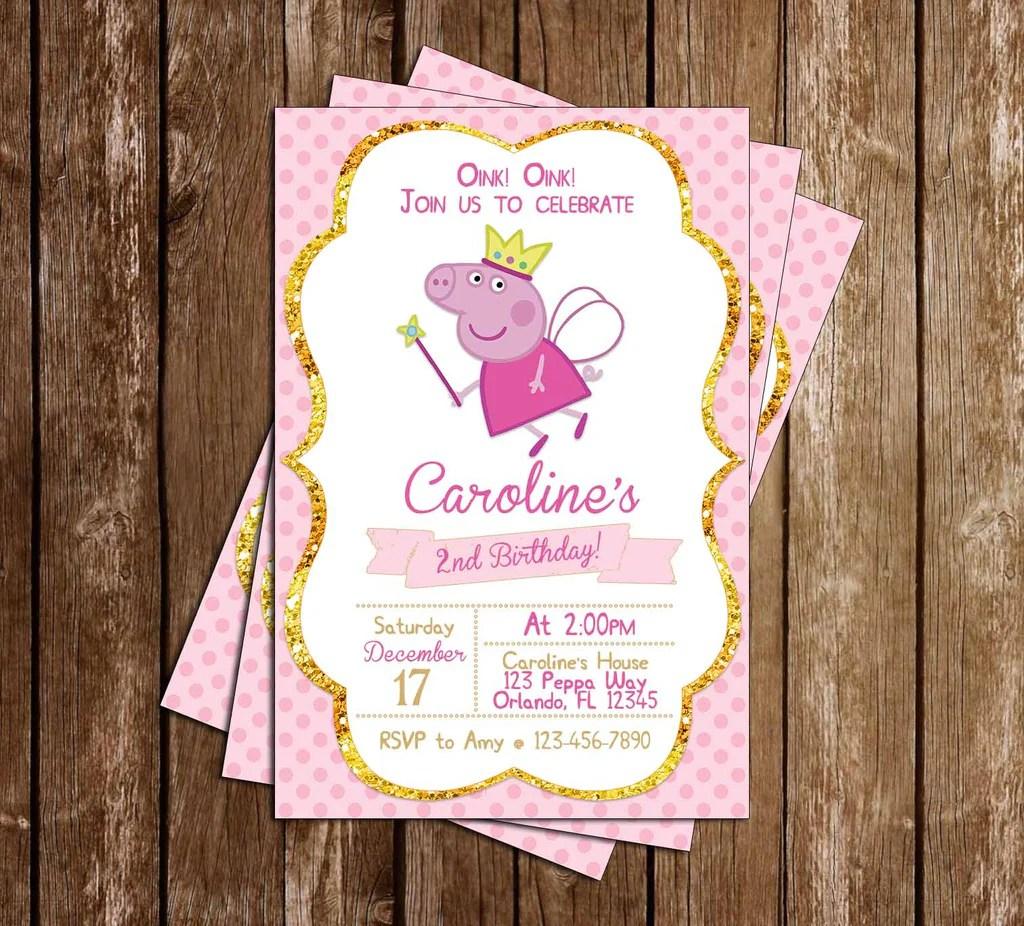 peppa pig fairy nick jr birthday party invitation