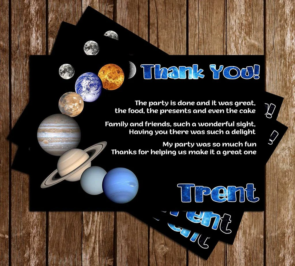 planets space birthday party invitation