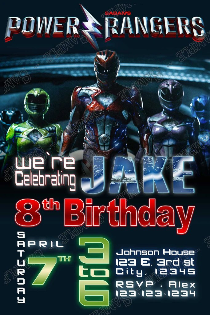 the power rangers the movie birthday party invitation