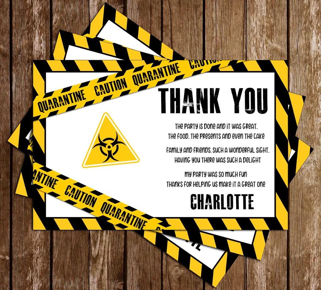 quarantine yellow birthday party thank you card