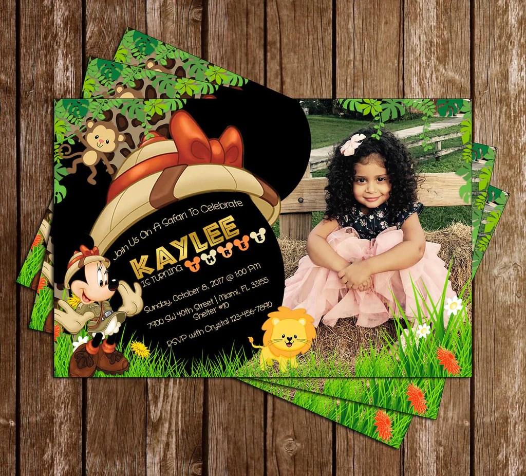 minnie mouse jungle safari birthday party invitation
