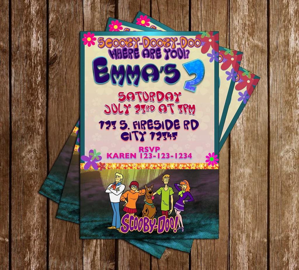 scooby doo tv show birthday party invitation