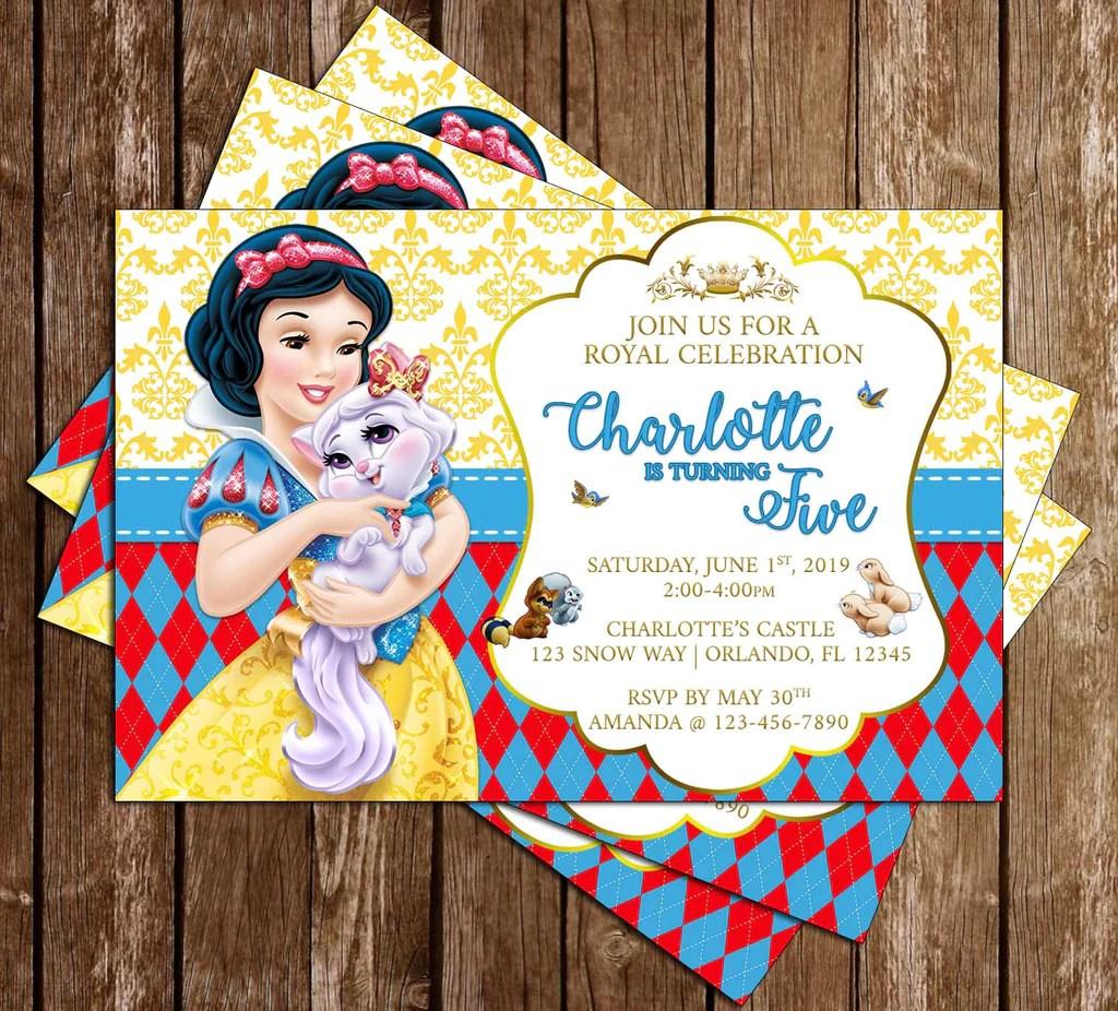 snow white the seven dwarfs animals invitation