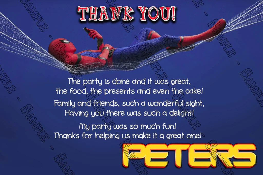 spiderman homecoming birthday party invitation
