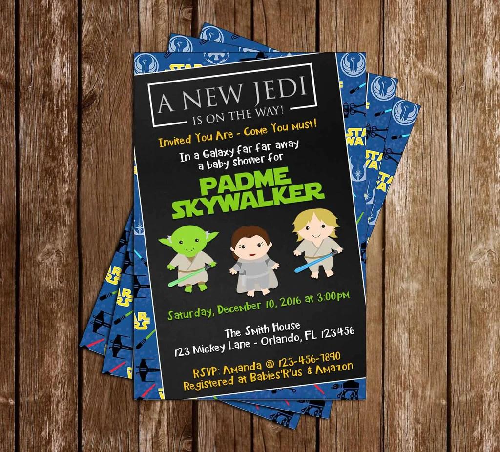 star wars a new jedi baby shower invitation
