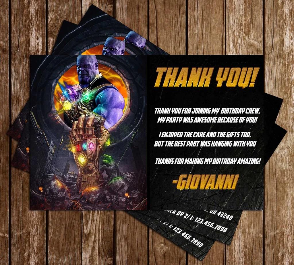 thanos avengers birthday party invitation