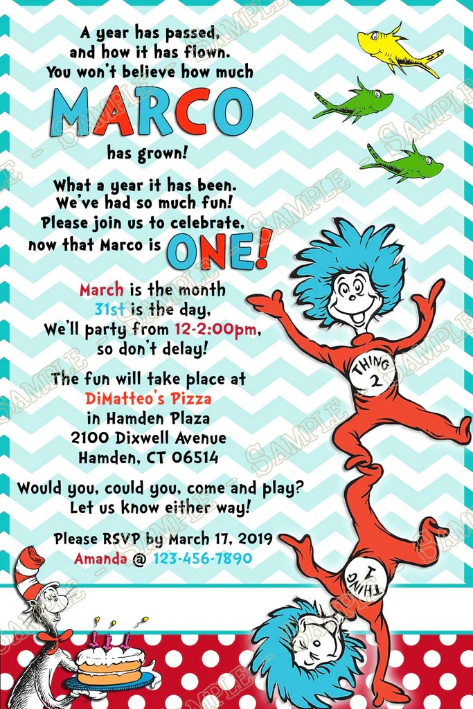 dr seuss thing one two 1st birthday party invitation printable