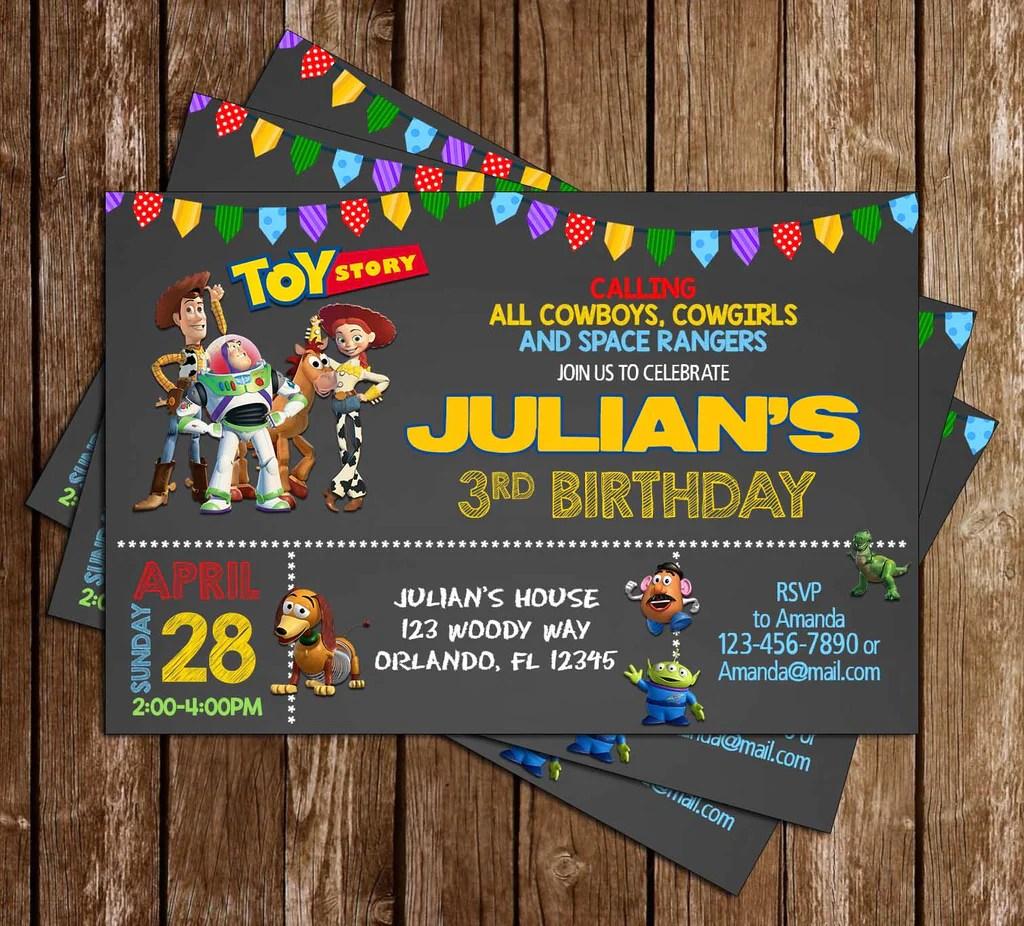 disney toy story chalk birthday party invitations