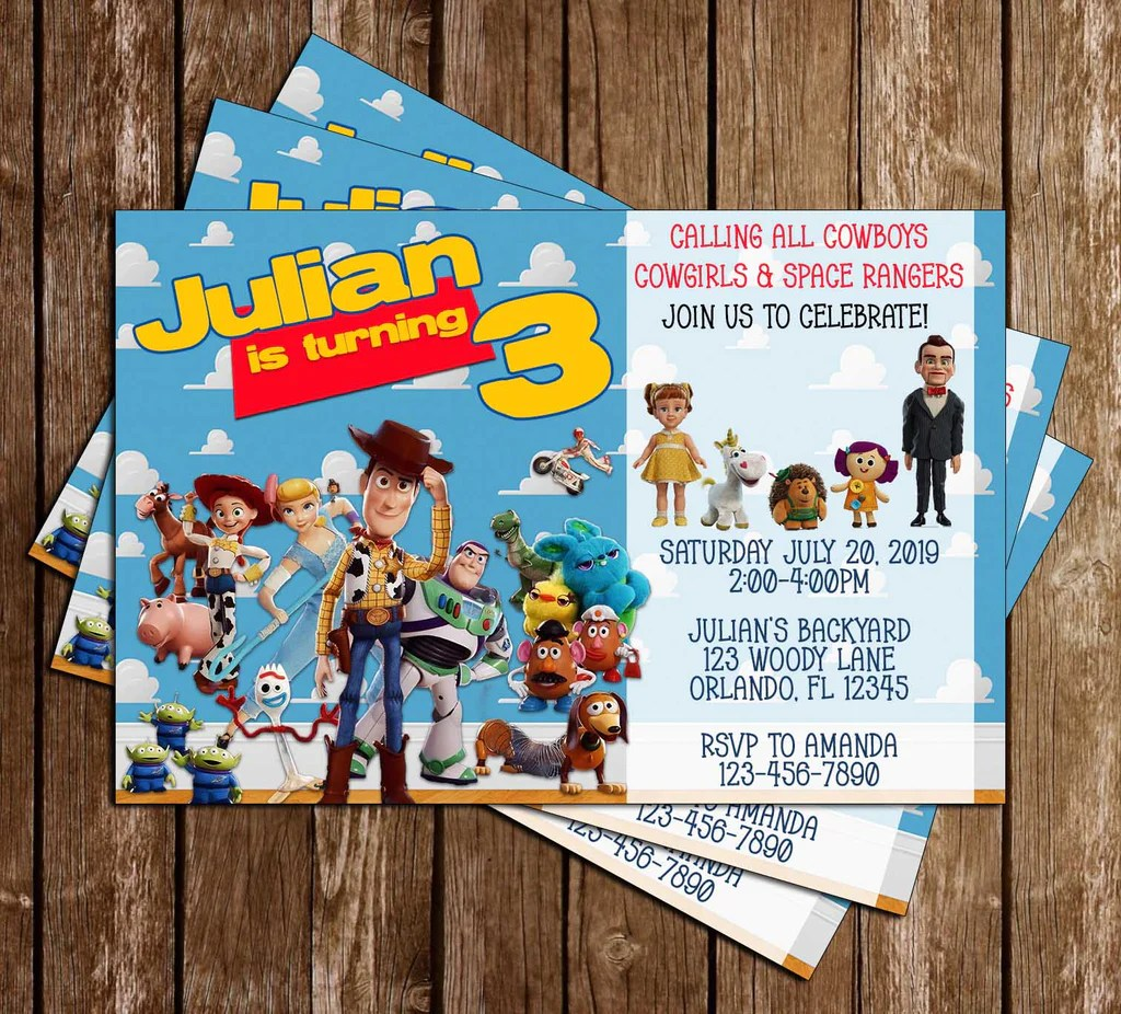 disney toy story 4 movie birthday party invitations