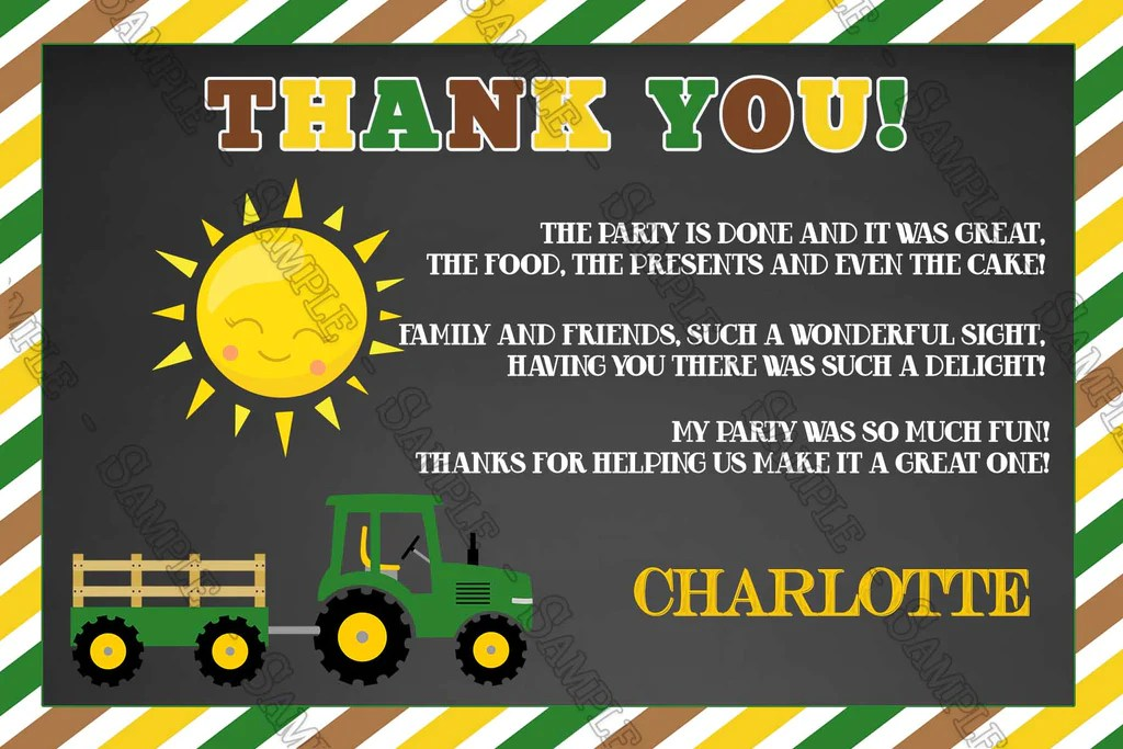 tractor oh deere birthday party invitation