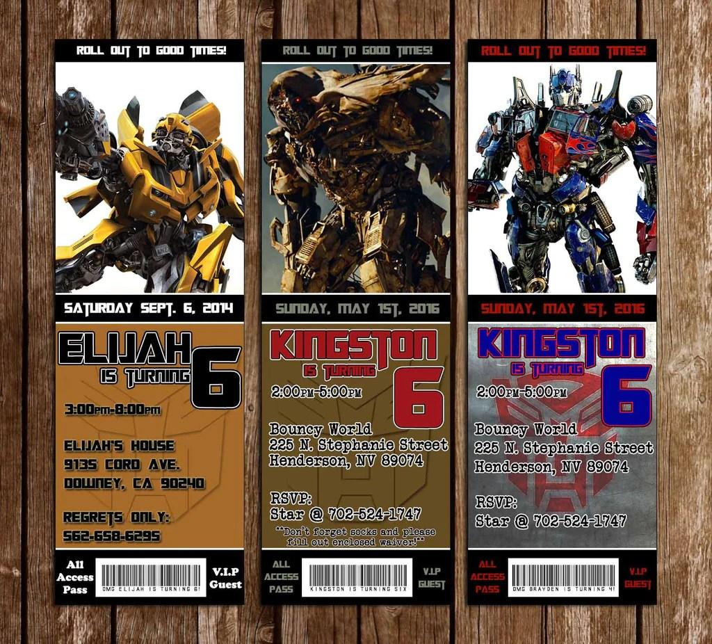 transformers birthday party ticket invitations
